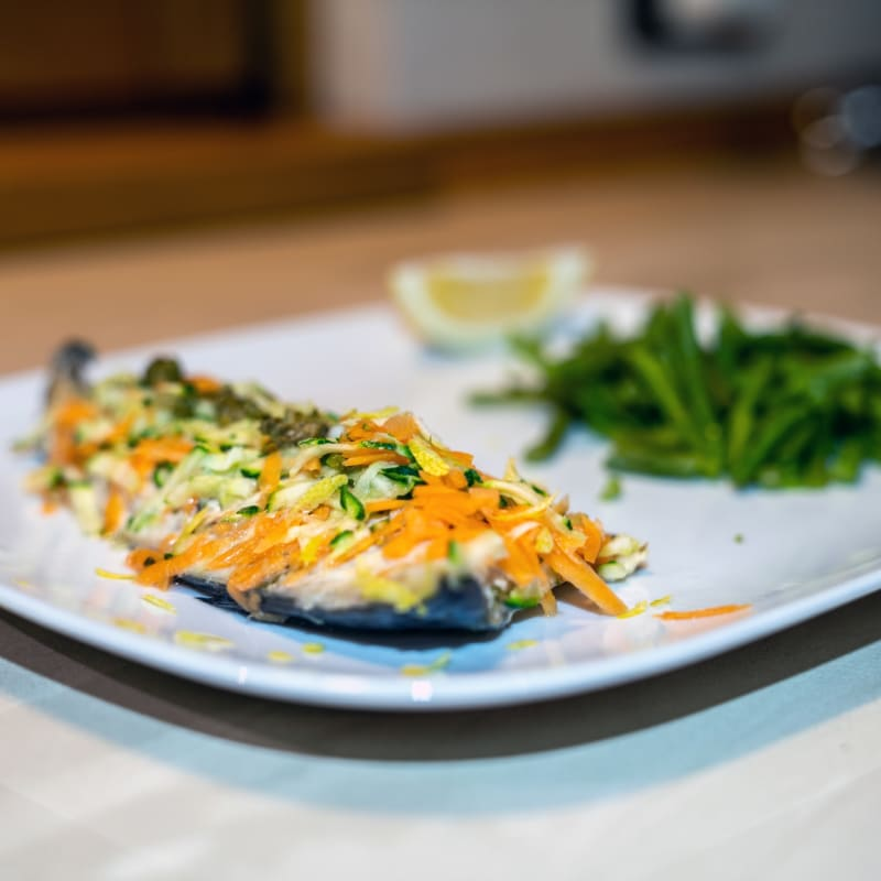 Steamed Mackerel Fillet with Carrots and Zucchini
