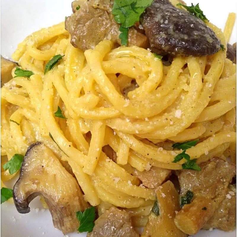 Troccoli with cardoncelli mushrooms and saffron