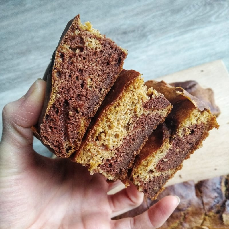 Bicolor Peanut Butter Cake (no yeast)