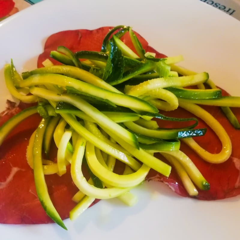 Marinated courgette spaghetti.