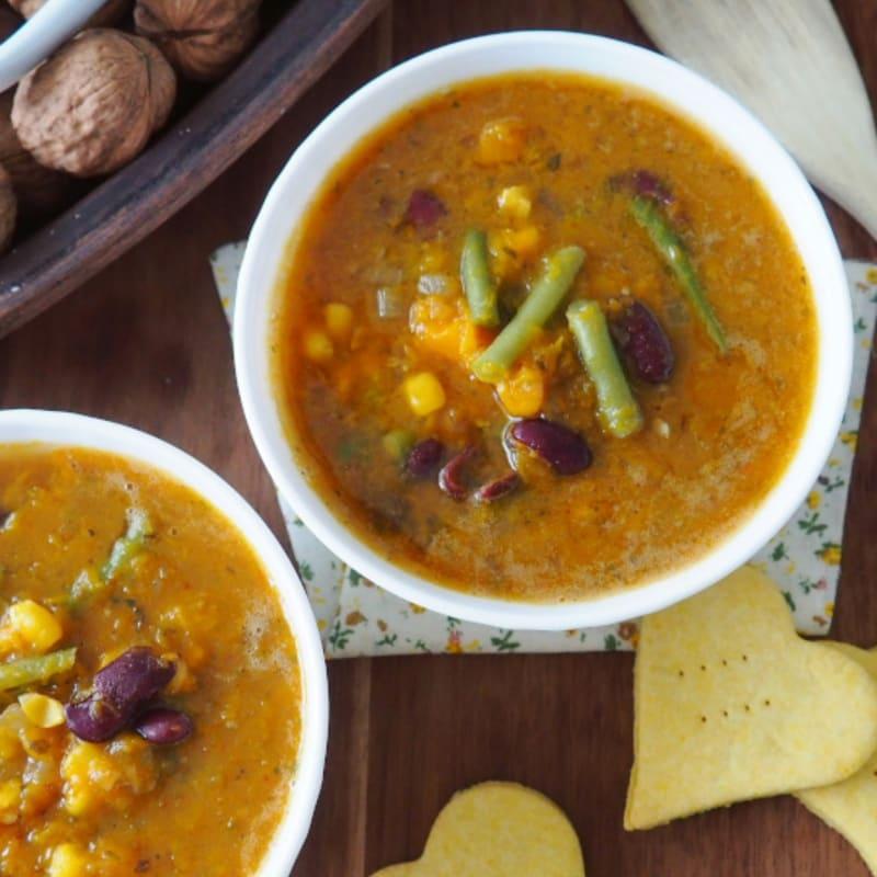 Porotos granados: Chilean pumpkin soup