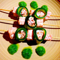 Foto preparazione Skewers Steamed salmon