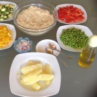 Foto preparazione couscous cake with vegetables