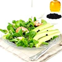 Ricetta correlata Valeriana, gamberi, avocado, bacche di maqui