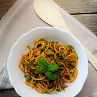 Ricetta correlata Zoodles with pesto with dried tomatoes