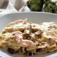 Ricetta correlata Lasagne con carciofi, funghi e prosciutto cotto
