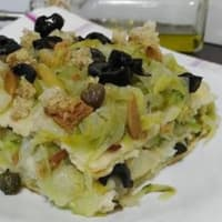 Ricetta correlata Flan carasau bread and escarole with olives and capers
