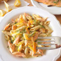 Ricetta correlata Penne with yogurt sauce, dill and salmon trout