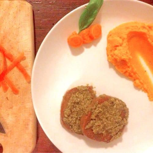 Foto Ricetta Seitan al pesto con puré di carote