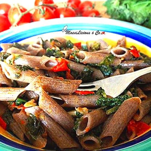 Foto Ricetta Penne di grano saraceno con cime di rapa e pomodorini