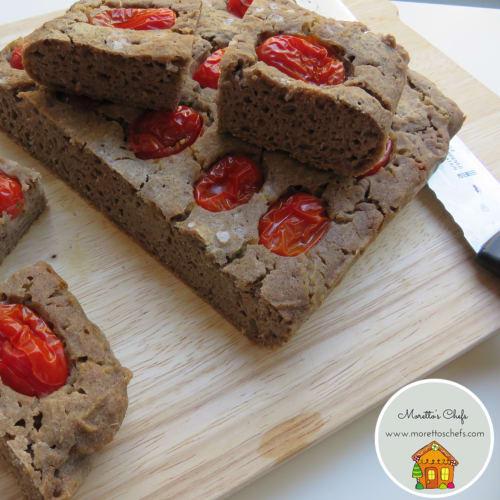 Foto Ricetta Focaccia vegan di grano saraceno con pomodorini ricetta senza glutine