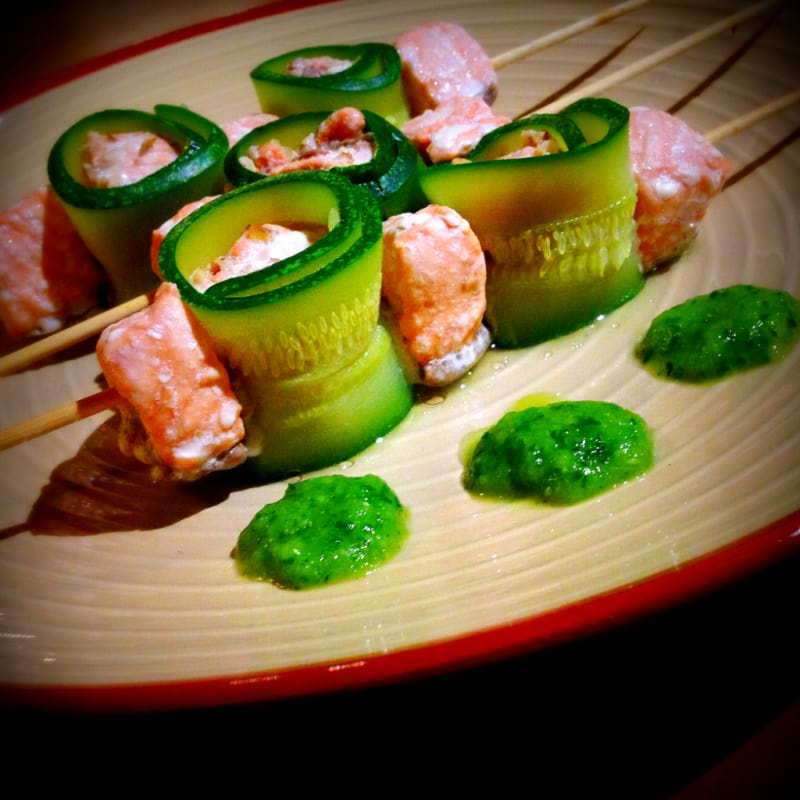Foto Ricetta Skewers Steamed salmon
