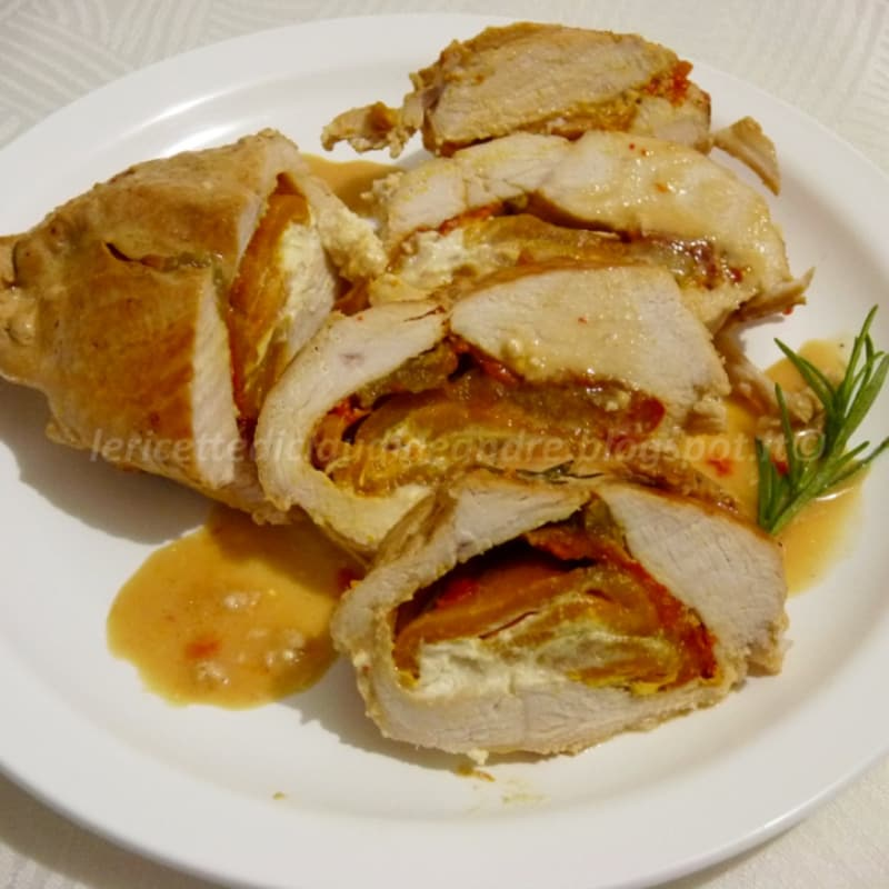 Foto Ricetta chicken breast stuffed with grilled peppers and philadelphia