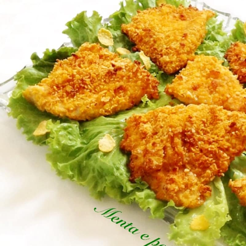Foto Ricetta turkey cutlets with roasted corn flakes