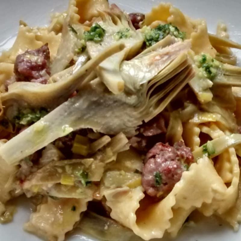 Foto Ricetta Tagliatelle con carciofi e salsiccia