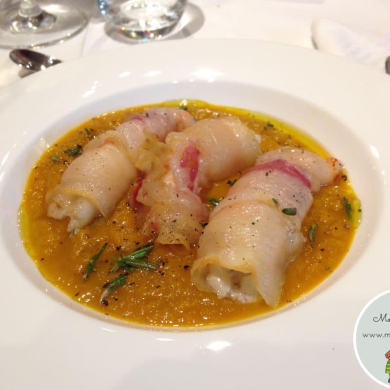 Foto Ricetta Vellutata di zucca con gamberi lardellati