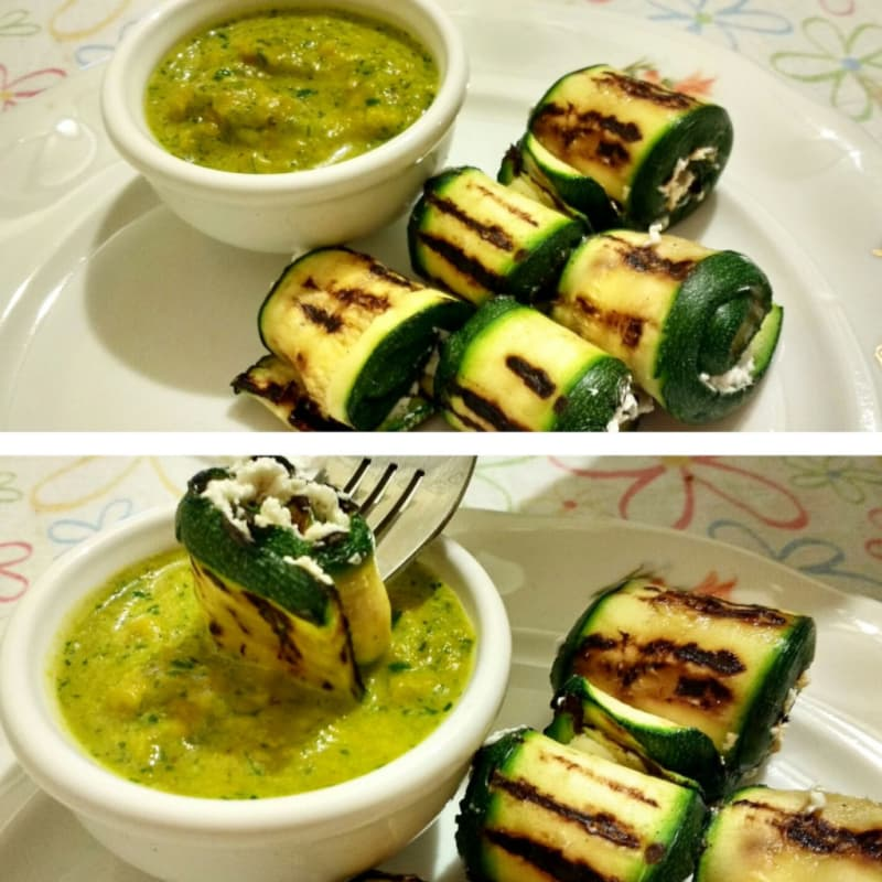 Foto Ricetta Roulade of zucchini stuffed with goat cheese and yellow pepper sauce