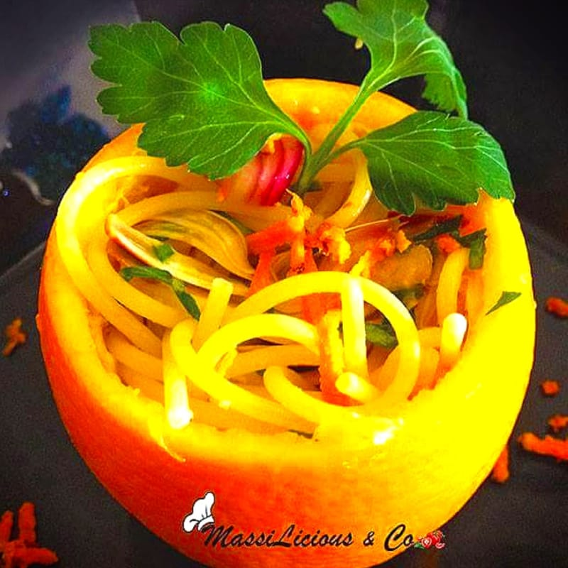 Foto Ricetta Spaghetti agli agrumi con carciofi e curcuma gluten free