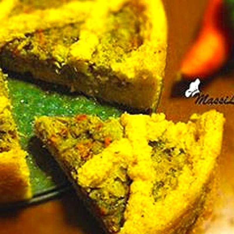 Foto Ricetta Crostata di polenta con broccoletti e carote
