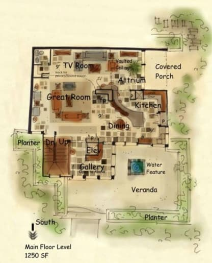 Four story house plan