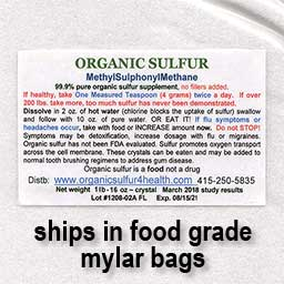 mylar bag sulfur 9lbs or less