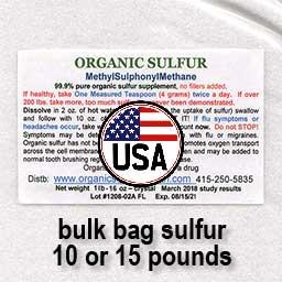 Bulk mylar bag organic sulfur 10-15-lbs