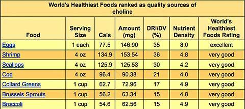 Choline Top 7 Foods
