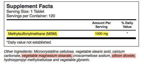 MSM Tablet Ingredient List