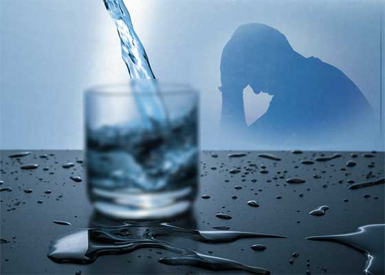 Depressed feeling due to being dehydrated