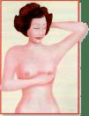 Auto-exame de mamas. Com os dedos unidos, use a mão direita para apalpar a mama esquerda e a mão esquerda para a direita.