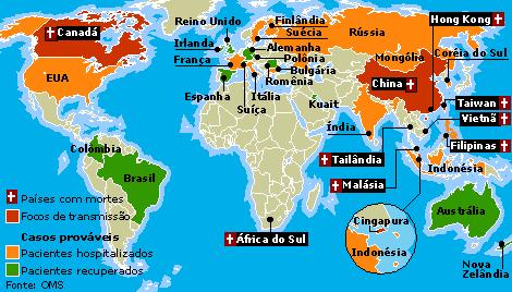 Mapa com focos de transmissão da doença SARS pelo mundo