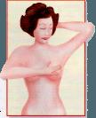 Auto-exame de mamas. Durante o banho, com as mamas ensaboadas, deslize as mãos sobre as mamas.