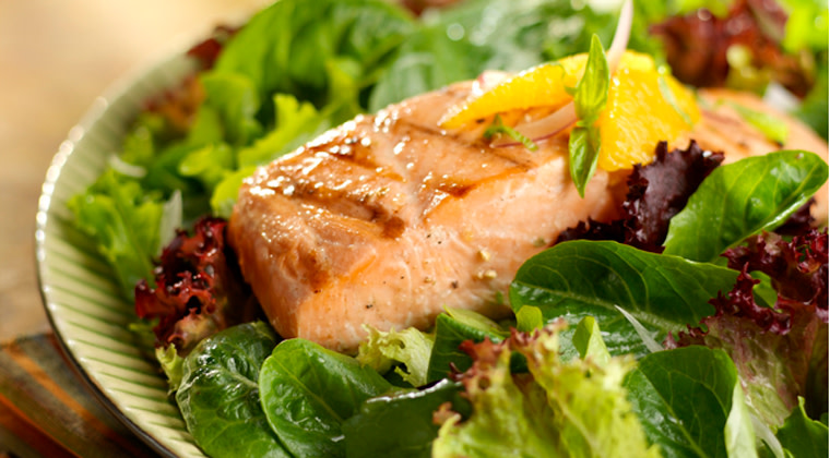 Grilled Salmon and Almond Pear Salad
