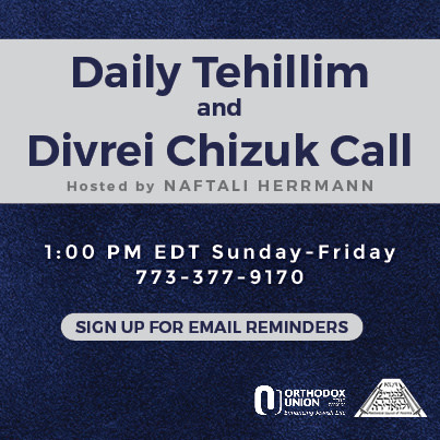 Please Join at 1pm for Tehillim and Divrei Chizuk