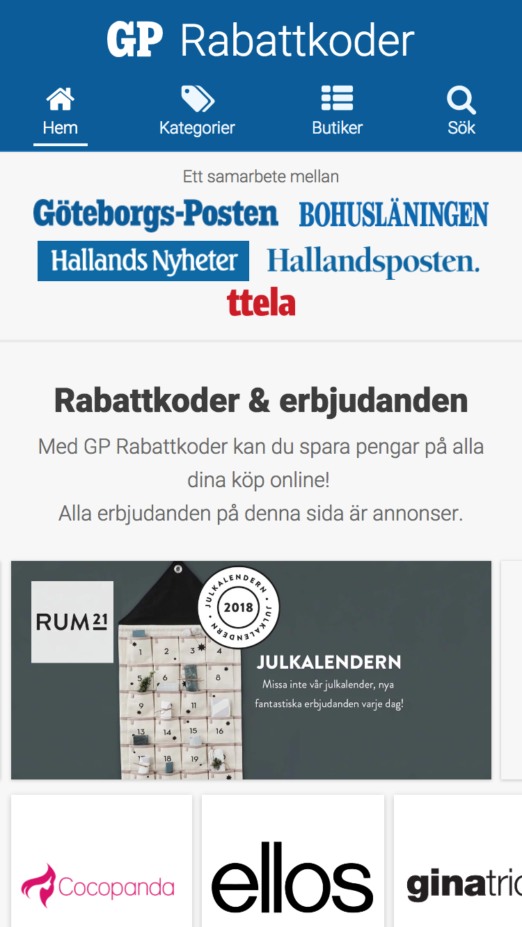 GP Rabattkoder front page on a mobile screen