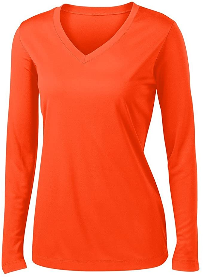 Ladies Long Sleeve V Neck Moisture Wicking Athletic Shirt.