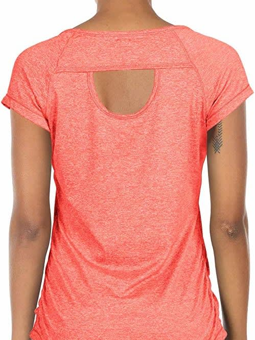 Fitness Gym Yoga Exercise Short Sleeve T Shirt Open Back Top.