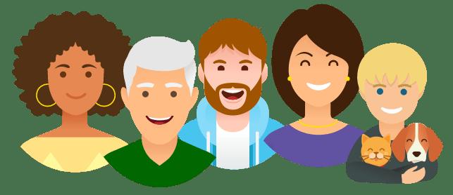 Un groupe de personnes souriantes car assurés chez Otherwise