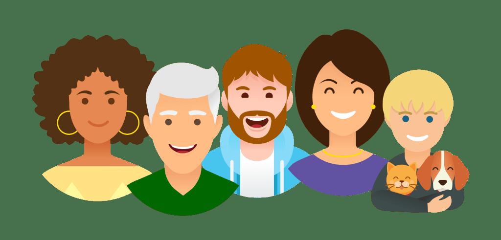 Assurance collaborative - Groupe de personnes - Multiproduit - 3698x1772 - PNG