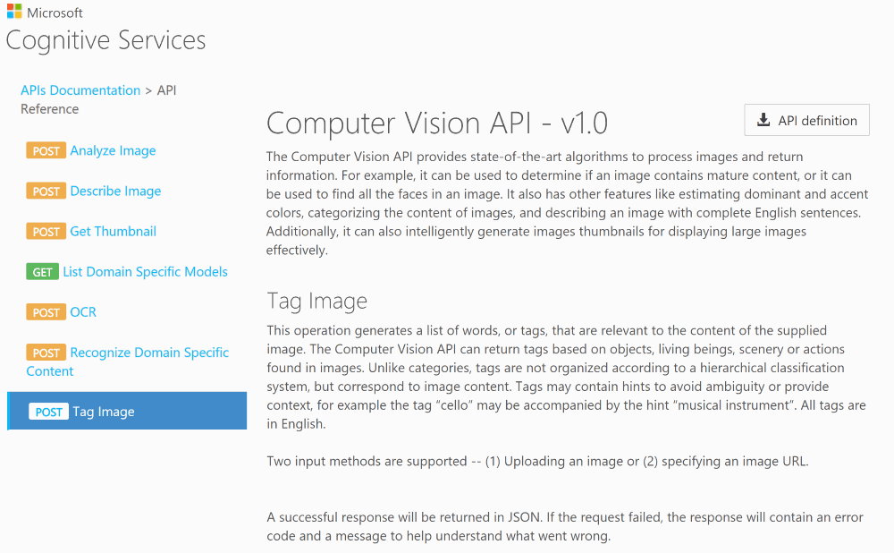 Computer Vision API reference