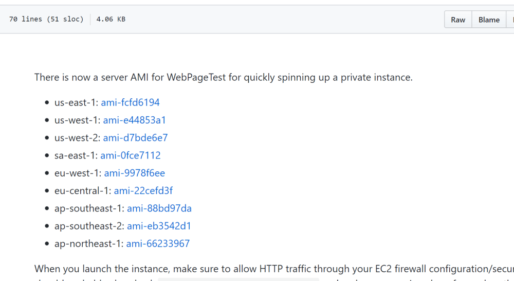 WebPageTest server EC2 AMI list by region