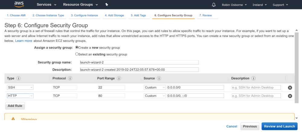 AWS EC2 - set security groups