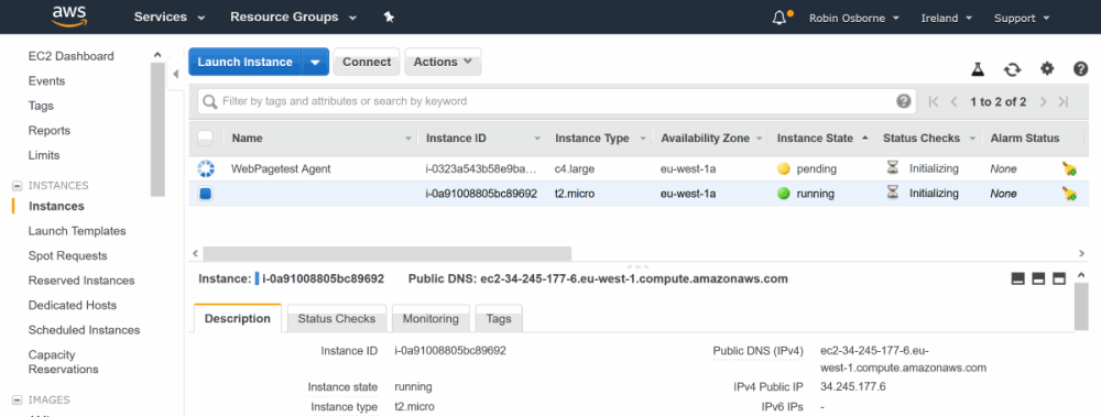 AWS EC2 - WPT test agent being created