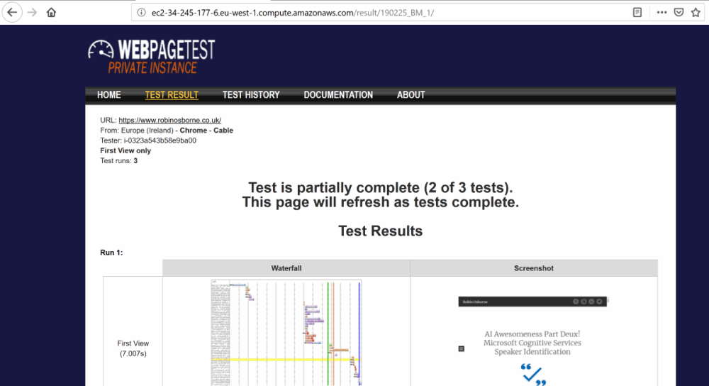 AWS EC2 - test running
