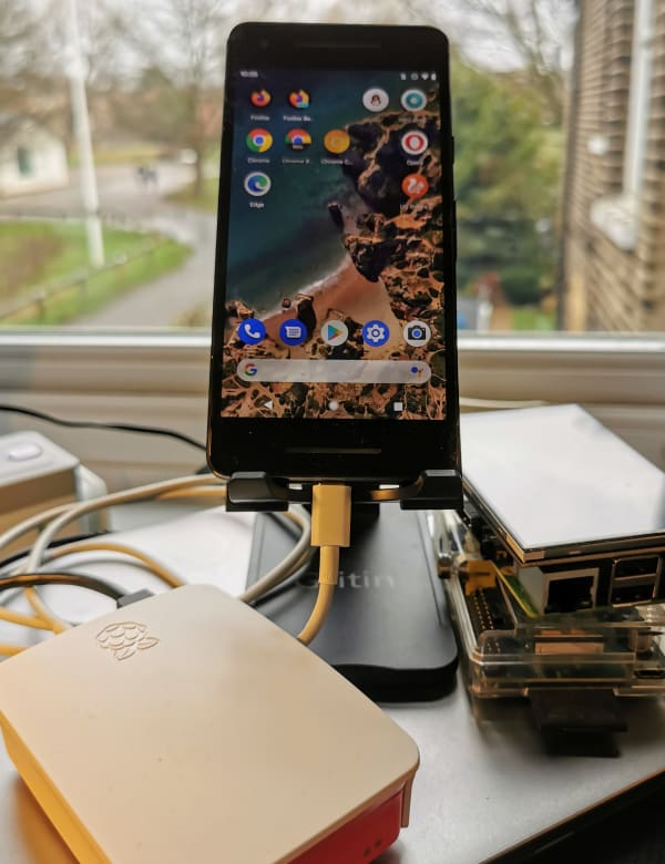 Pixel 2 connected to a raspberry pi