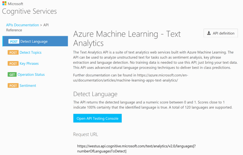 Microsoft's Text Analytics API