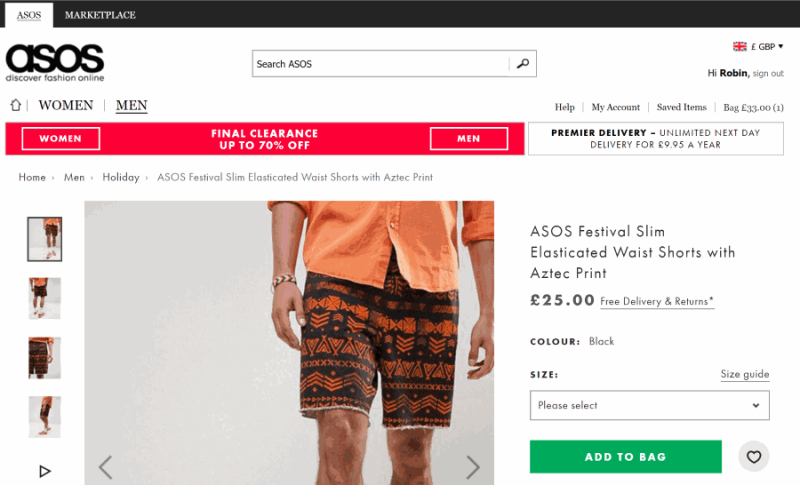 ecommerce browse section: detail page