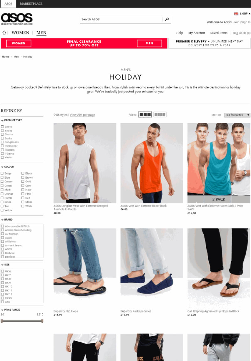 ecommerce browse section: listing page