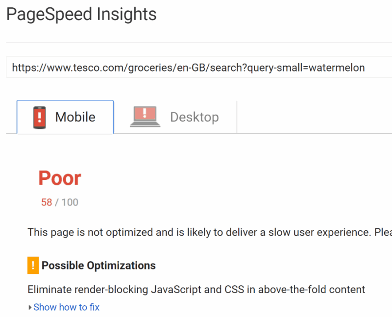 tesco pagespeed insights