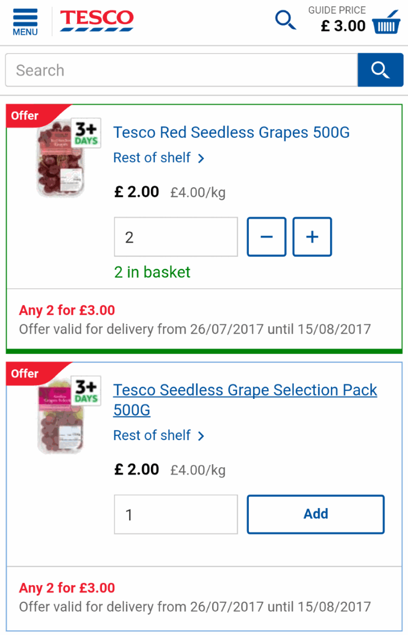 tesco browse section: listing page